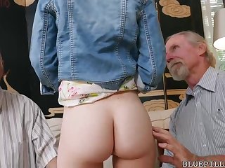 Crimson haired darling is having lucky bang-out with 2 old dude in her living apartment