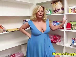 Mature ash-blonde lady relative to glasses gave a oral pleasure to her step- son-in-law, until he came