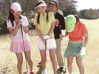 Japanese youthfull bare femmes have fun golf and do some molten stuff afterward porn video