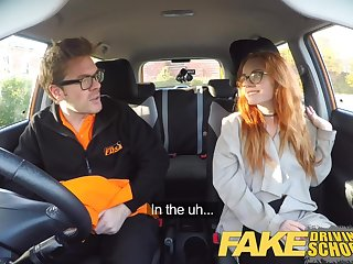 Fake Driving School Creampie in nerdy ginger teen hairy burn out a become furious
