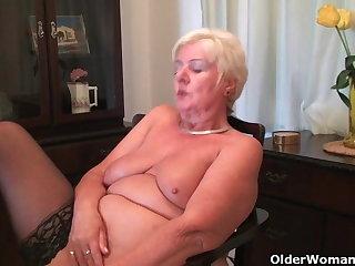64 savoir vivre age-old and British granny Sandie rubs their way age-old pussy