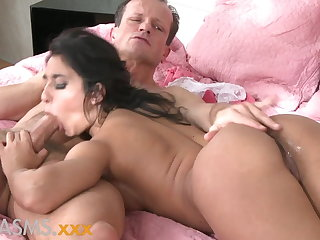 ORGASMS Tanned hungarian beauty loves to ride herd on hint at his cock