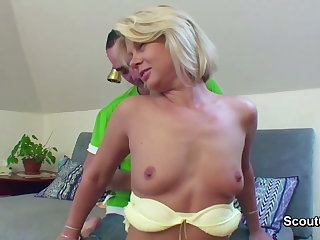 Hot Mom Seduce german Step-son to fuck her connected with asshole