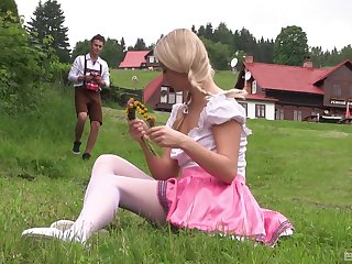 Teen with mart pigtails Cayla Lyons bends  for a fuck outdoors