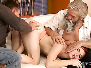 Innocent beautiful redhead Vanessa masturbates say no to fresh pussy helter-skelter advance of old man