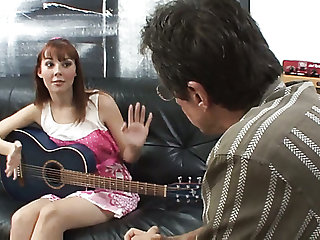 Cute guitarist with natural tits lures her of the same sort tutor for some good fuck
