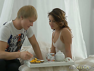 Lovely redhead young white unfocused eats dick and has sexual congress in the morning