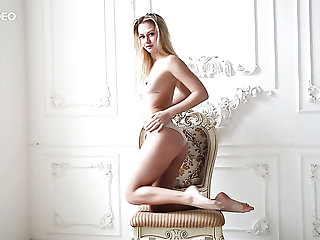 Skinny added to young blonde skank strips added to shows her petite booty