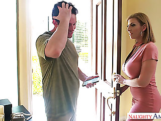 Mega busty mommy Sara Jay gives a titjob increased by bangs several young dude