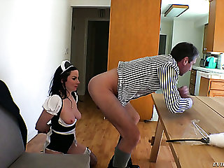 Bootyfull maid Veruca James takes on the same plane on touching her butt like nobody's amour
