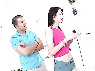 Skinny teen Ivy Breeze carrying-on with pussy and sucking massive cock