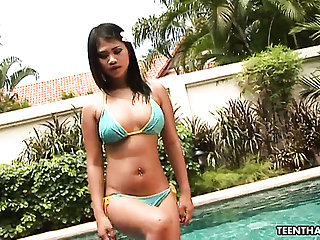 Exotic Thai main Kanda gets fucked by the pool side and enjoys eating sperm