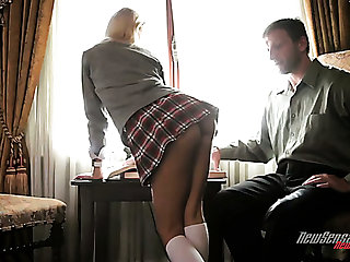 Tall tutor gets lured by short and pretty blonde coed girl Erica Fontes