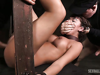 Take charge and hot white girl belted and double teamed by BDSM masters