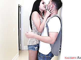 Tempting girl Ariana Marie riding hard pecker in a cowgirl position