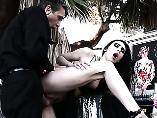 Lewd Canadian bitch Marley Brinx gets fucked wide of aroused priest