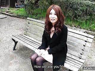 Elegant horn-mad Japanese Sachi Suzuki masturbates in front of their way client