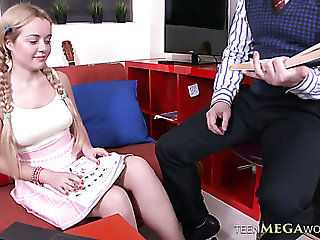 Sara Hilton gets her shaved pussy fucked hard enough by Geography tutor