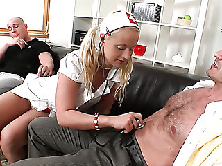 Highly voracious Czech blonde call-girl Rachel LaRouge can work on three dicks on tap once
