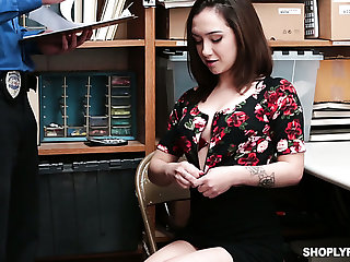 Culpable nympho Lily Jordan gets fucked missionary and doggy by dirty cop