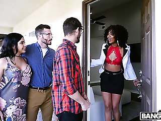 Curly black MILF Misty Stone is expert at one's fingertips sucking flannel and grinding cunt