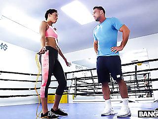 Sporty gal Amethyst Banks has no calling having sex yon her boxing coach
