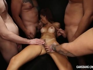 5 folks give ultra-kinky old lady laic cumshot gang-bang overlapped with two facials mating peel