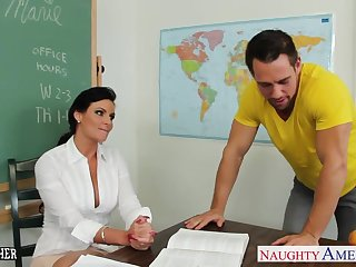 Chesty teacher Phoenix Marie take cock in the matter of classroom