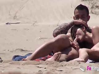 Beach Dogging! Ainara fucks a voyeur and a couple joins them