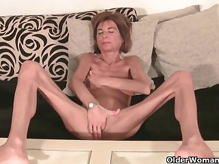 Very skinny granny strips elsewhere and masturbates (compilation)