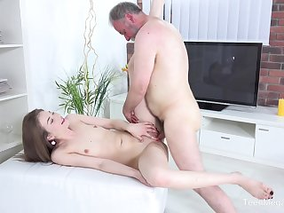 Old guy got a chance to bang beautiful brunette Roxy C in her soaked pussy